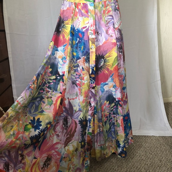 07809cab4d0 H&M Skirts | Hm Long Floral Button Up Skirt | Poshmark